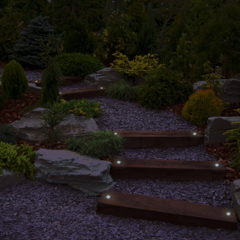 Solar power round recessed deck dock pathway garden led light ebay - Solar