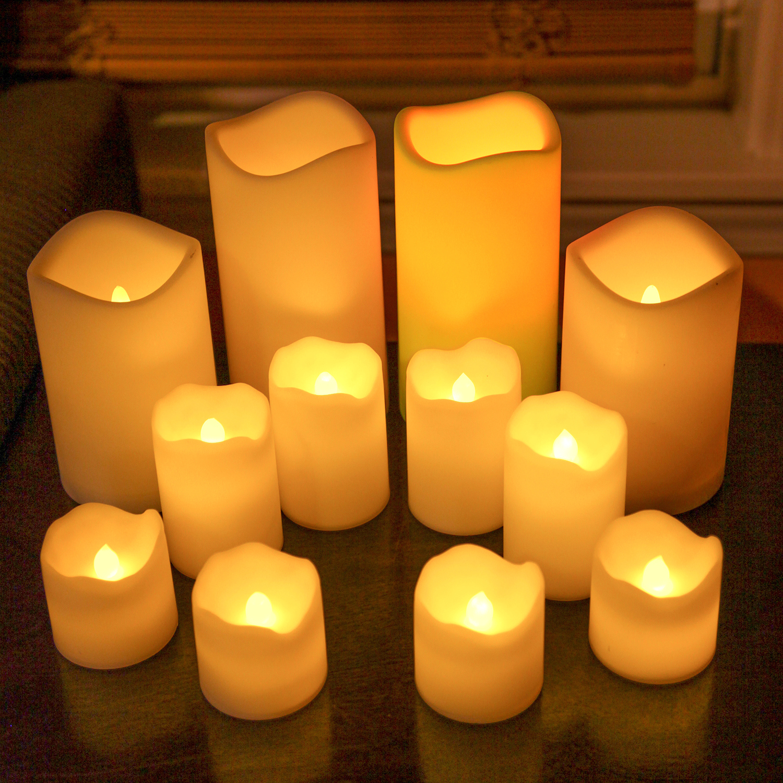 Lights Com Flameless Candles Pillar Candles