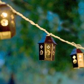 Shanghai Copper Birdhouse Expandable Plug-in String Lights, Strand of 10
