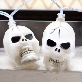 Cool White Skull Battery String Lights, Strand of 10