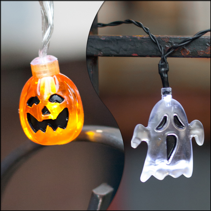 Ghost and Pumpkin Battery String Lights 2 Pack