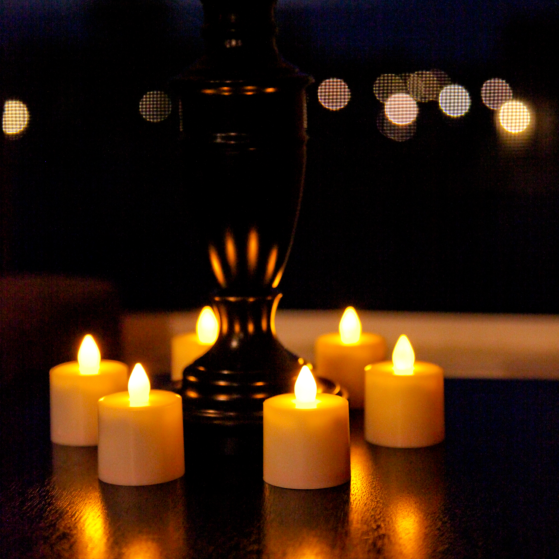 bistro rechargeable amber tea lights with remote control set of 12. Black Bedroom Furniture Sets. Home Design Ideas
