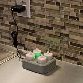 Bistro Rechargeable Amber Tea Lights with Remote Control, Set of 4