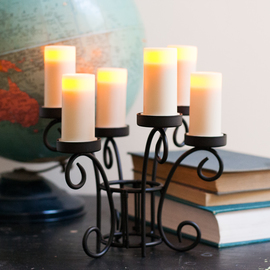 Ella Scroll 6-Votive Centerpiece with Auto Timer
