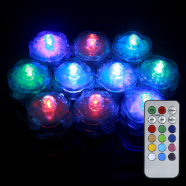 Submersible Color Changing Flower Tea Lights with Remote, Set of 10