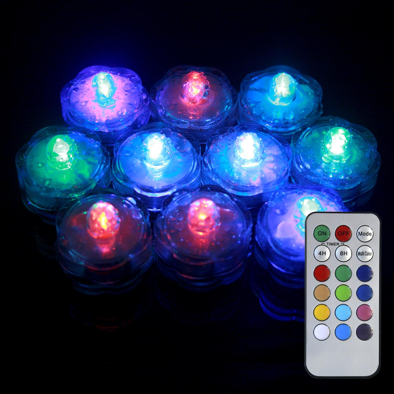 tea lights submersible color changing flower tea lights with remote. Black Bedroom Furniture Sets. Home Design Ideas