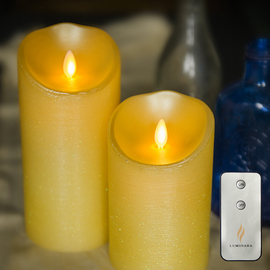 Yellow Moving Wick Flameless Candle with Remote
