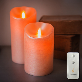 Sugared Peach Moving Wick Flameless Candle and Remote