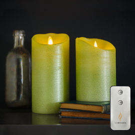 Lime Green Moving Wick Flameless Candle with Remote