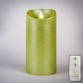 """Lime Green 7"""" Flameless Moving Wick Candle with Remote"""