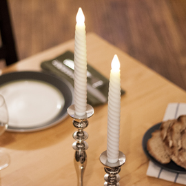 """Twisted Wax 10"""" Flameless Taper Candle, Set of 2"""