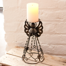"Flameless 9"" Candle with Angel Holder and Timer"