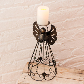 "Flameless 13"" Candle with Timer and Angel Holder"
