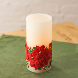Festive Poinsettia Candle with programmable timer