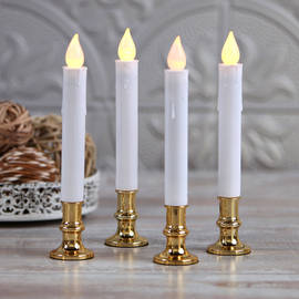 Ivory Taper Candles with Removable Base, Set of 4