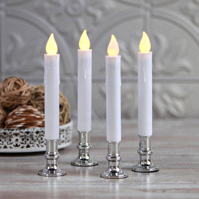 White Taper Candle with Removable Silver Base, Set of 4