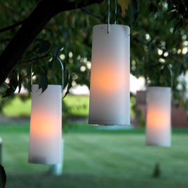 "White Plastic Battery Operated 7"" Outdoor Lantern, Set of 3"