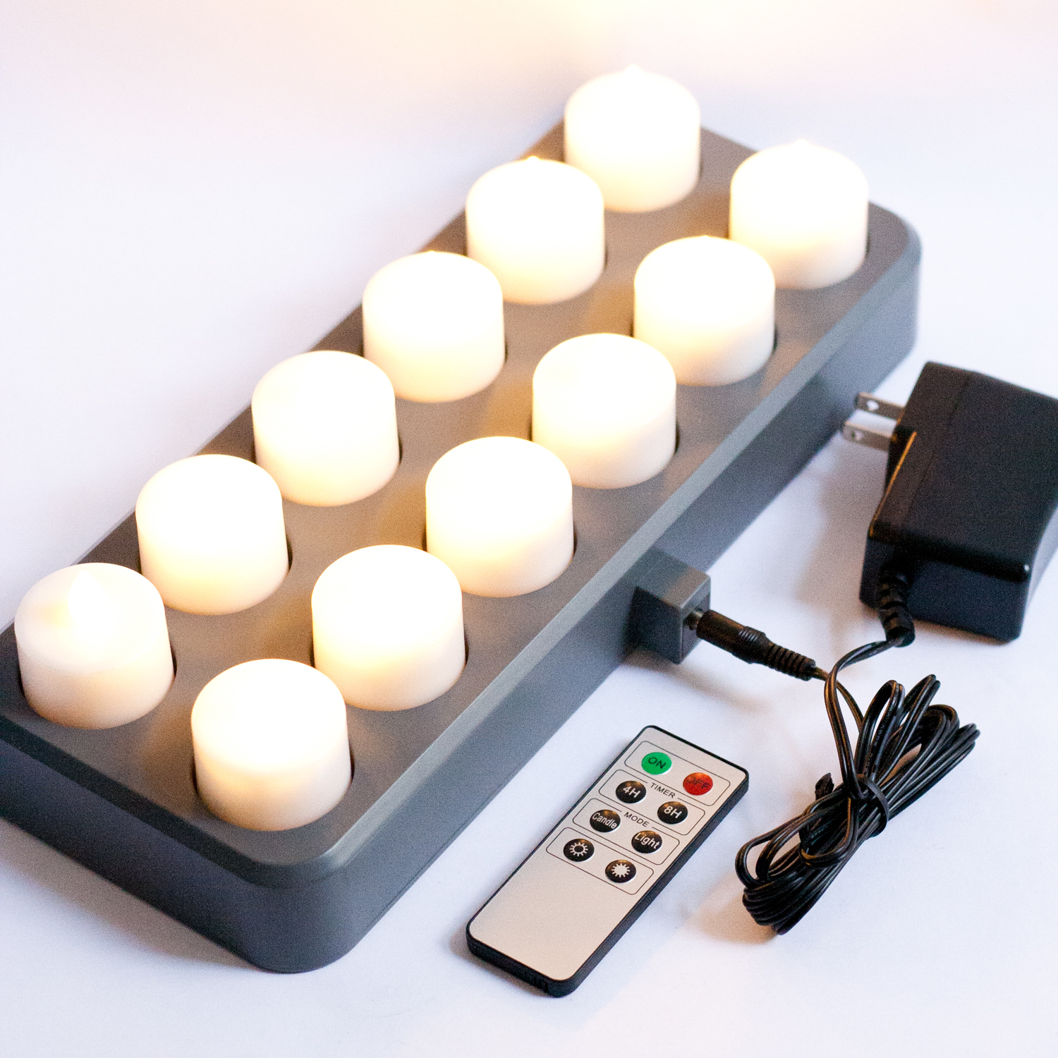 tea lights bistro rechargeable warm white tea lights with remote. Black Bedroom Furniture Sets. Home Design Ideas