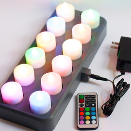 Bistro Rechargeable Color Changing Tea Lights with Remote Control, Set of 12
