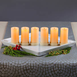"Tall Cream Flameless 3"" Votives, Set of 6"