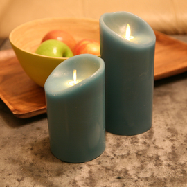 Blue Sage Flameless Moving Wick Candle with Remote, Set of 2