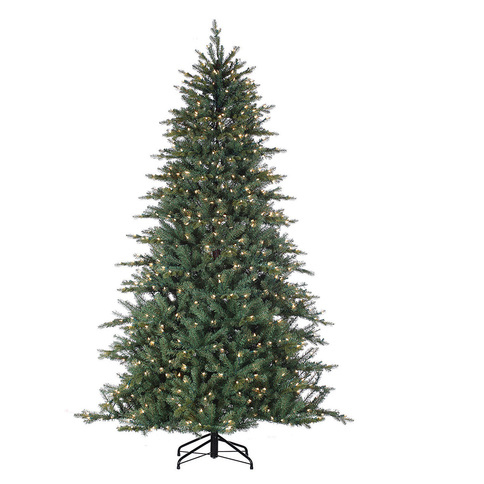 7.5 ft Natural Cut Carolina Spruce with Clear Christmas Lights