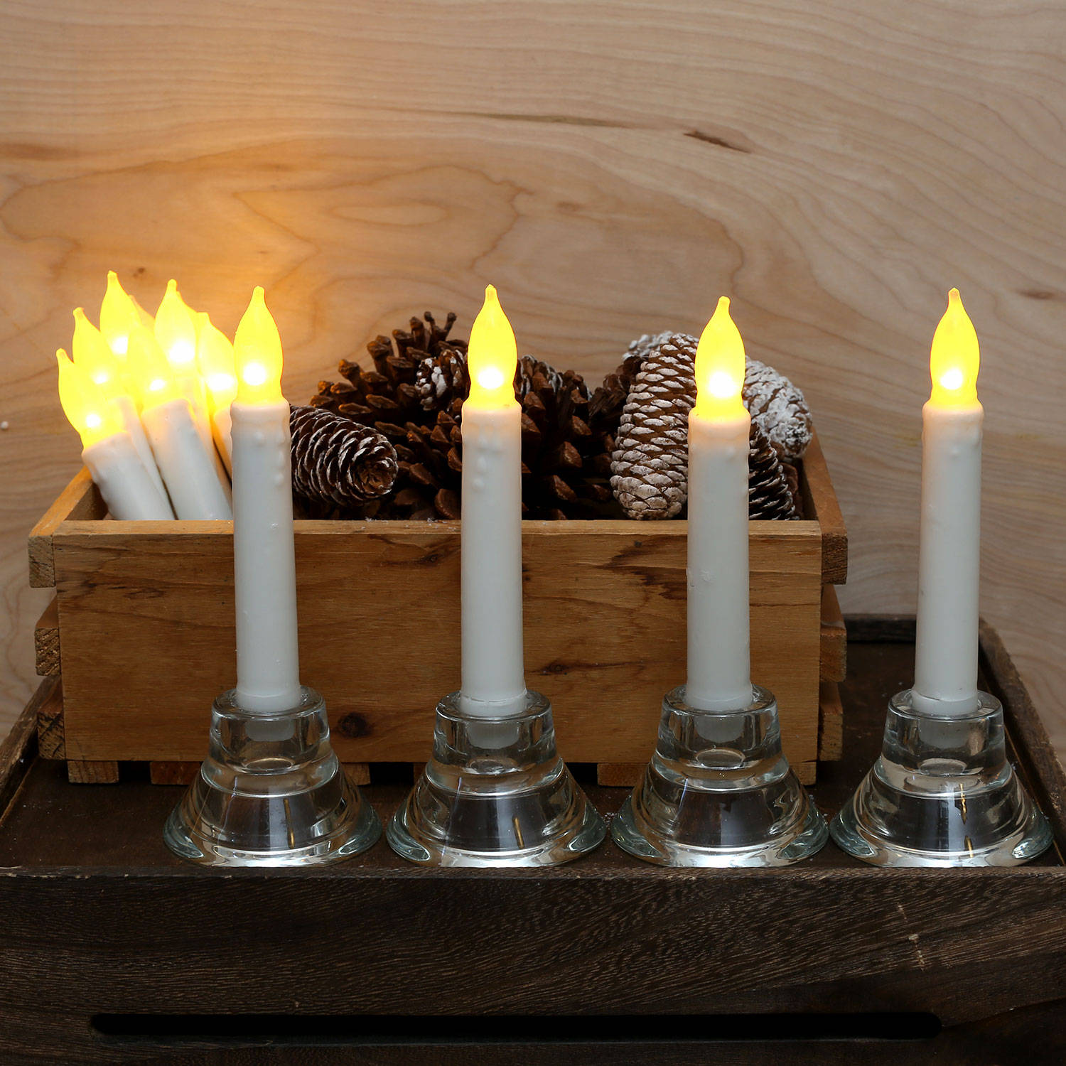 Lit Decor Flameless Candles Tapers Cyrus Flameless Wax Taper Candles Set Of 12