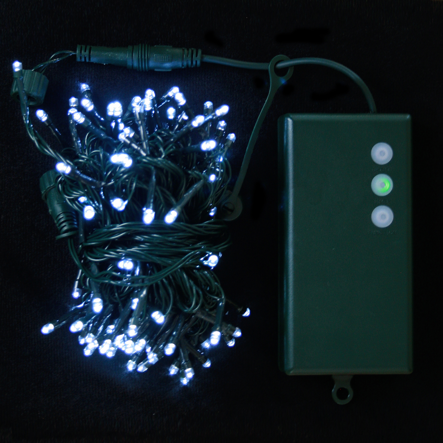 Lights.com String Lights Christmas Lights Cool White 100 LED Connectable Battery String Lights