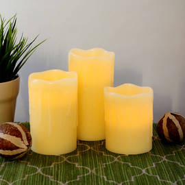 Beeswax Drip Flameless Candles with Timer and Remote, Set of 3