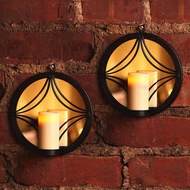 Round Bronze Mirror Sconce with Votive with Timer, Set of 2