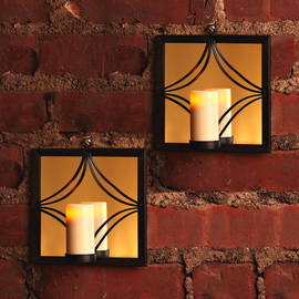 Square Bronze Mirror Sconce with Votive with Timer, Set of 2