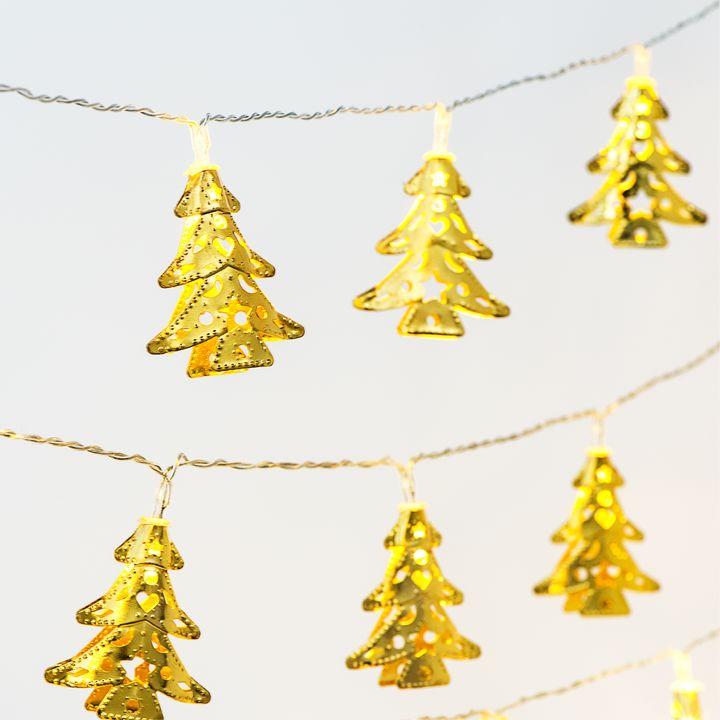 String Of Christmas Lights.Gold Christmas Tree Battery String Lights Strand Of 10