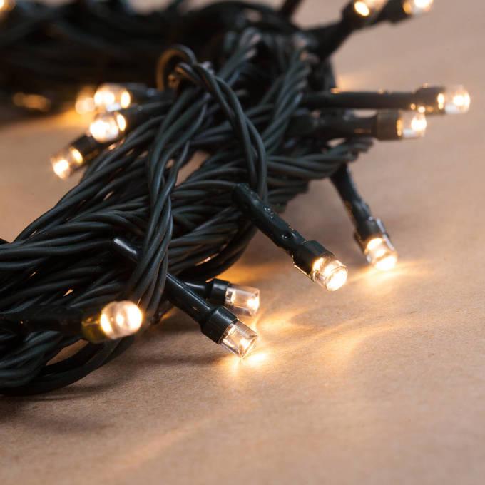 Lights.com String Lights Christmas Lights Warm White 100 LED Battery String Lights with Timer