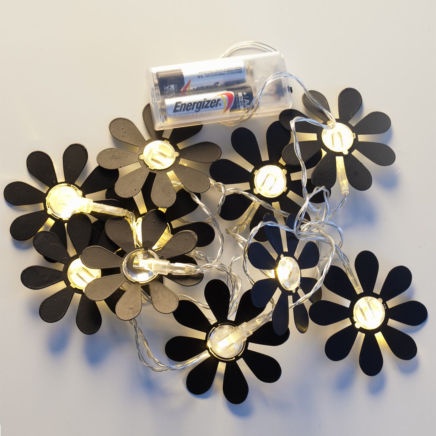 Battery Operated Decorative Wall Lights : Lights.com String Lights Decorative String Lights Black Daisy Battery Operated String ...