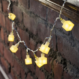 White Block Battery Operated String Lights