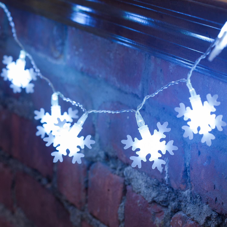 Lights.com Lit Decor String Lights Decorative Cool White Snowflake Battery String Lights ...