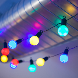 Multicolor Party Globe Expandable Plug-in String Lights, Strand of 20