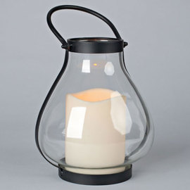 Black School House Lantern II with Timer