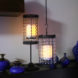 Antique Beaded Cage Candle Lamp, Clear