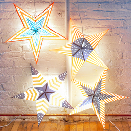 Patriot Series Paper Star Lantern with Plug-in Cord, Set of 4