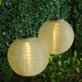 """White 12"""" Solar Lanterns, Set of 2"""