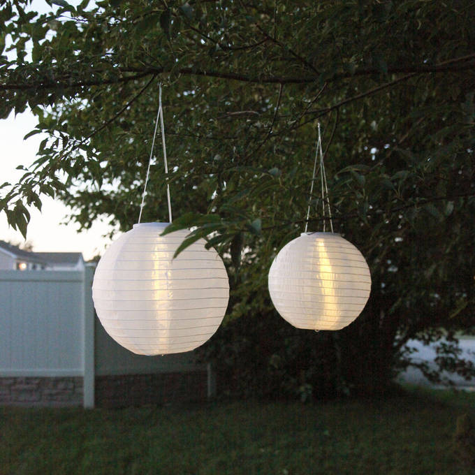 "White 12"" Solar Lanterns, Set of 2"