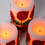 Red Rose Flameless Wax Candles, Set of 3