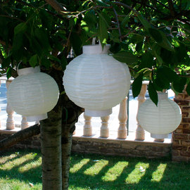 White Crepe Paper Battery Lantern, Set of 3