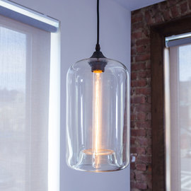 Windsor Heights Cylinder Glass Pendant with Vintage Bulb
