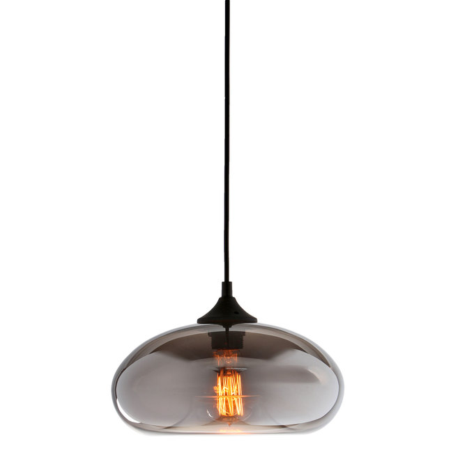 Greenwood Glass Pendant with Vintage Filament Bulb, Mirrored Glass