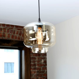 Boerum Crown Glass Pendant with Vintage Bulb