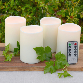 Flameless Outdoor Pillar Candle with Remote, Set of 4