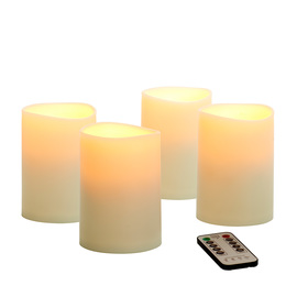 Flameless Smooth Wax Pillar Candle with Remote, Set of 4