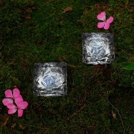 Mini Iced Glass Cool White Solar Brick Path Light - Set of 2